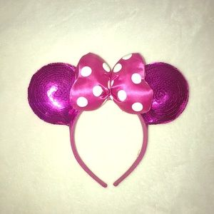 Pink Sequin Minnie Mouse Ears Headband